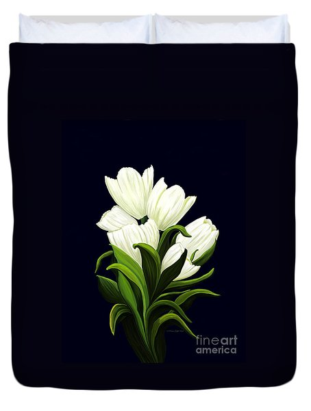Duvet Cover featuring the painting White Tulips by Patricia Griffin Brett