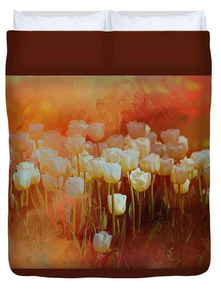 Duvet Cover featuring the digital art White Tulips by Richard Ricci