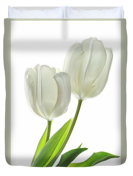 Duvet Cover featuring the photograph White Tulips With Leaf by Charline Xia