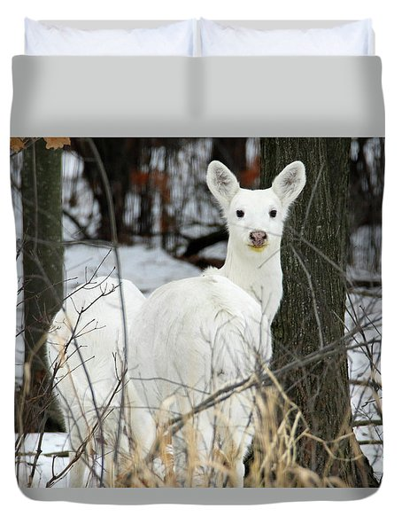 White Visitor Duvet Cover by Brook Burling