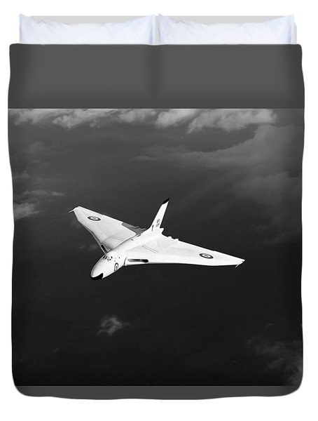 Duvet Cover featuring the digital art White Vulcan B1 At Altitude Black And White Version by Gary Eason