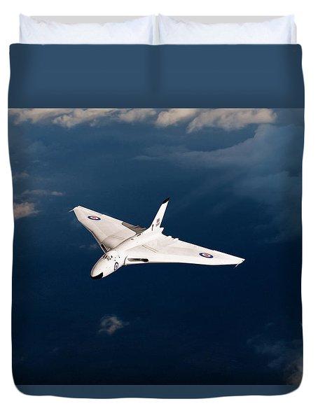 Duvet Cover featuring the digital art White Vulcan B1 At Altitude by Gary Eason