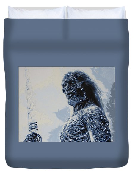 Duvet Cover featuring the painting White Walker by Luis Ludzska