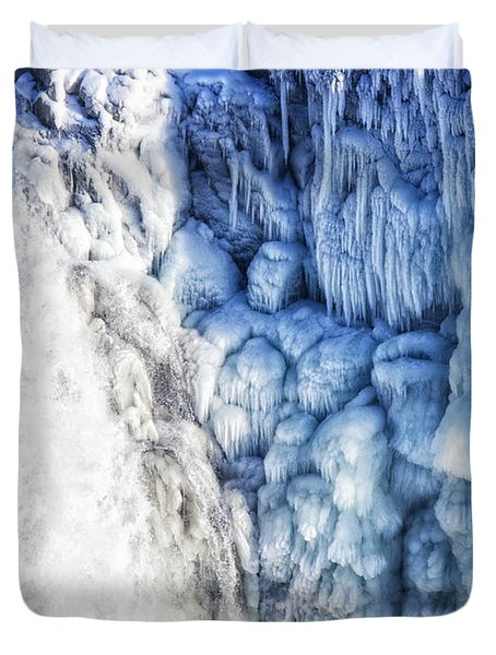 Duvet Cover featuring the photograph White Water And Blue Ice Gullfoss Waterfall Iceland by Matthias Hauser