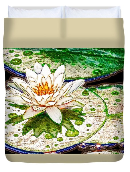 White Water Lilies Flower Duvet Cover by Lanjee Chee