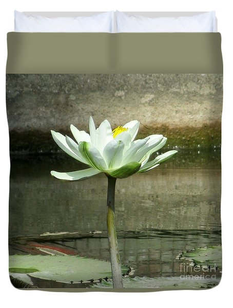 Duvet Cover featuring the photograph White Water Lily 2 by Randall Weidner