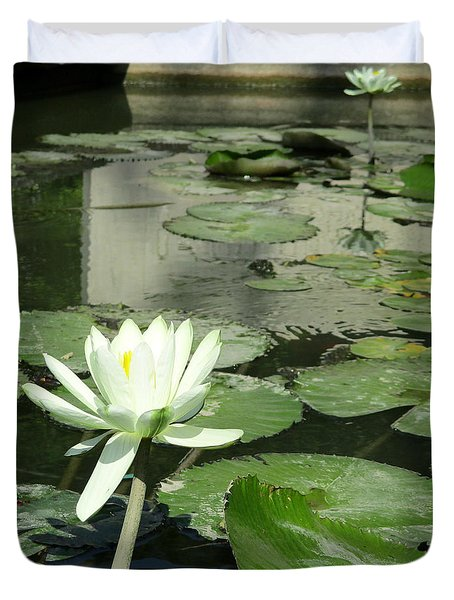 Duvet Cover featuring the photograph White Water Lily 3 by Randall Weidner