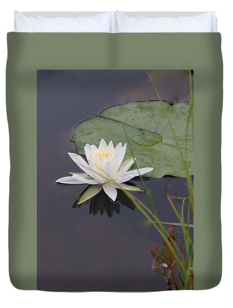 Duvet Cover featuring the photograph White Water Lotus by Debra     Vatalaro