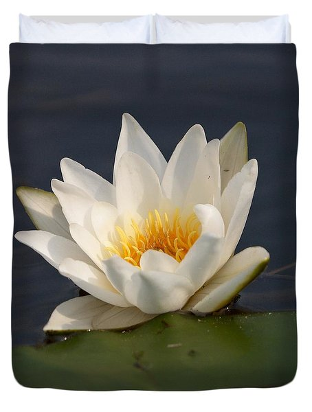 Duvet Cover featuring the photograph White Waterlily 1 by Jouko Lehto