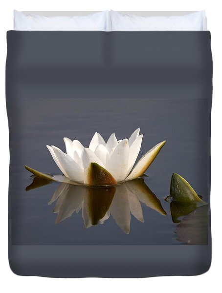 Duvet Cover featuring the photograph White Waterlily 2 by Jouko Lehto