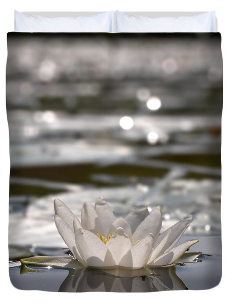 Duvet Cover featuring the photograph White Waterlily 3 by Jouko Lehto