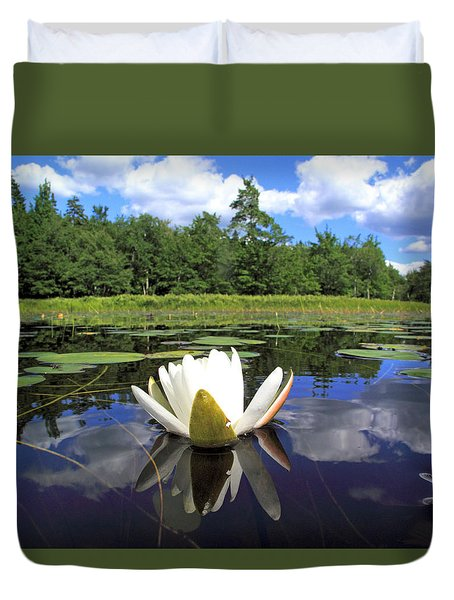 White Waterlily On A Lake Duvet Cover