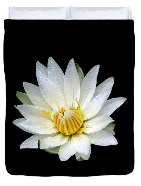 White Waterlily With Dewdrops Duvet Cover by Rose Santuci-Sofranko