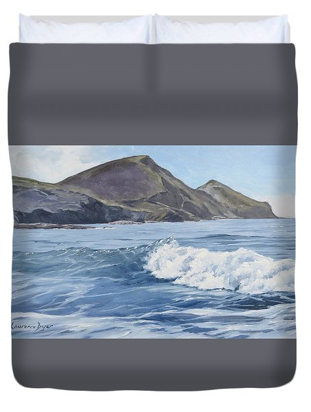 Duvet Cover featuring the painting White Wave At Crackington  by Lawrence Dyer