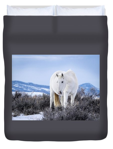 Duvet Cover featuring the photograph White Wild Horse Mystic Of Sand Wash Basin by Nadja Rider