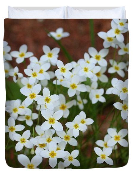 Duvet Cover featuring the digital art White Wildflowers by Barbara S Nickerson