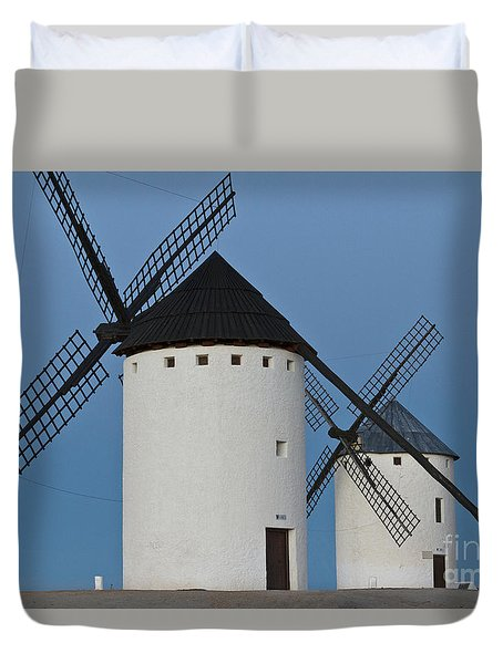 Duvet Cover featuring the photograph White Windmills by Heiko Koehrer-Wagner