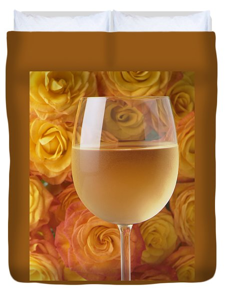 White Wine And Yellow Roses Duvet Cover by Garry Gay