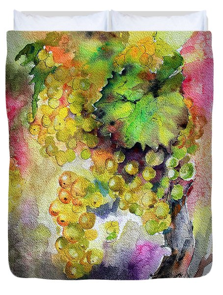 Duvet Cover featuring the painting White Wine Grapes Vineyard Watercolor Painting by Ginette Callaway