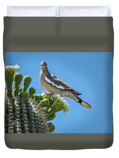White Winged Dove On Cactus Flower Duvet Cover