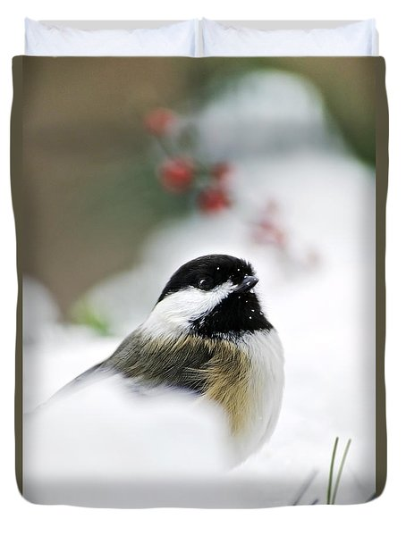 White Winter Chickadee Duvet Cover