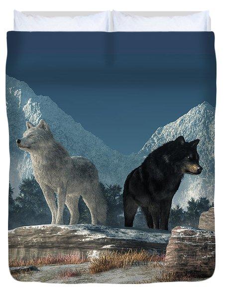 White Wolf, Black Wolf Duvet Cover by Daniel Eskridge