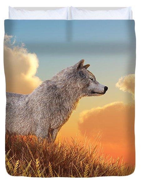 White Wolf Duvet Cover by Daniel Eskridge