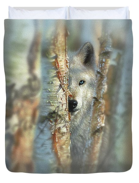 White Wolf Focused Duvet Cover