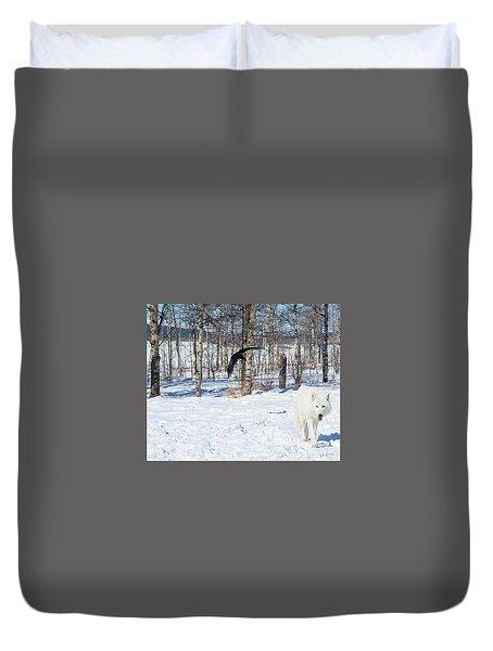 White Wolfdog Duvet Cover