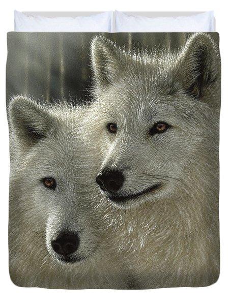 White Wolves - Sunlit Soulmates Duvet Cover