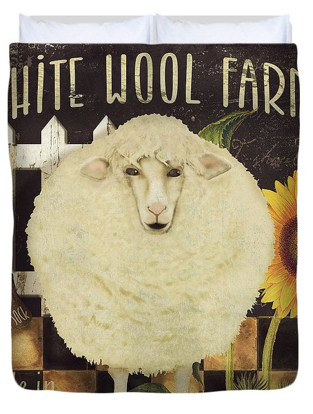 White Wool Farms Duvet Cover by Mindy Sommers