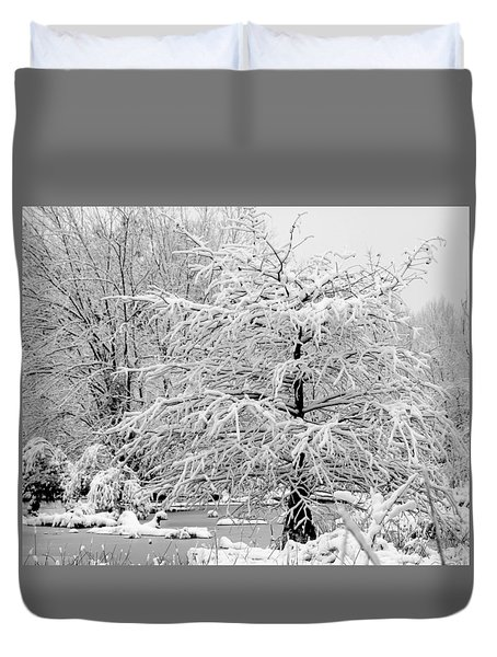 Whiteout In The Wetlands Duvet Cover by John Harding