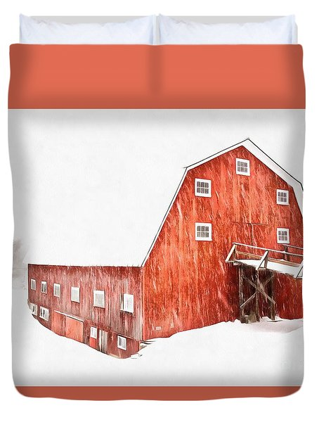 Duvet Cover featuring the painting Whiteout On The Farm Blizzard Stella by Edward Fielding