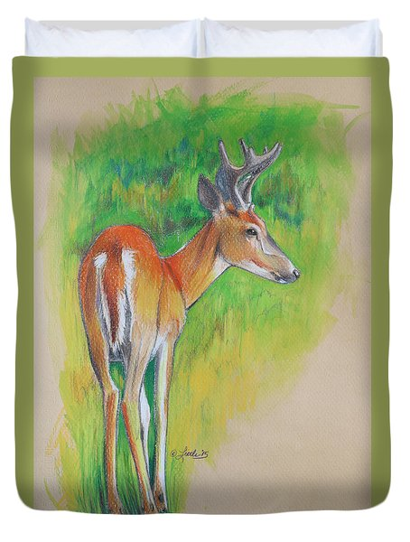 Whitetail Buck Mixed Media Duvet Cover