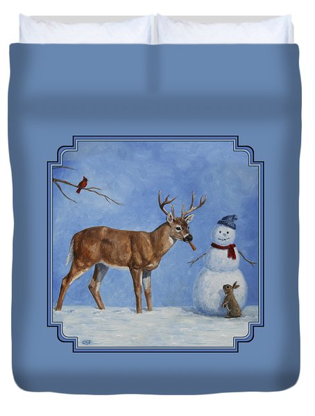 Whitetail Deer And Snowman - Whose Carrot? Duvet Cover by Crista Forest