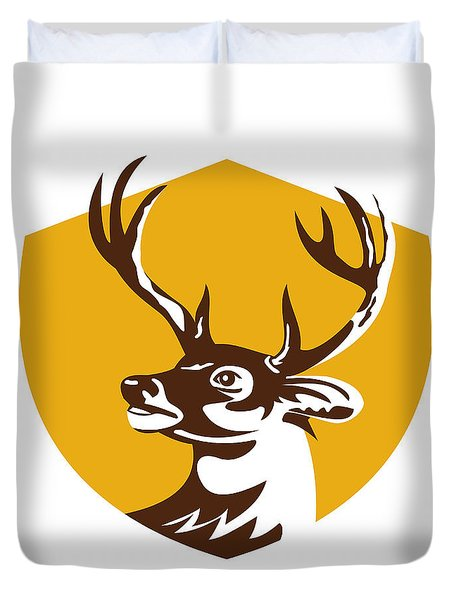 Whitetail Deer Buck Head Crest Retro Duvet Cover