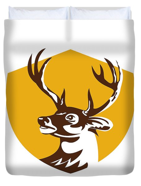 Whitetail Deer Buck Head Crest Retro Duvet Cover by Aloysius Patrimonio