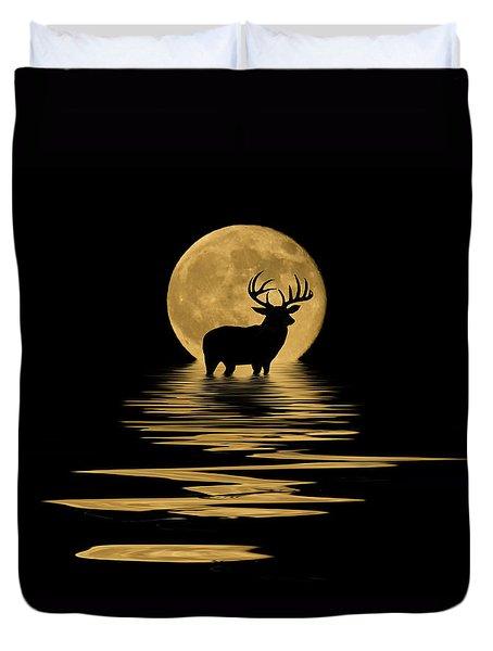 Whitetail Deer In The Moonlight Duvet Cover
