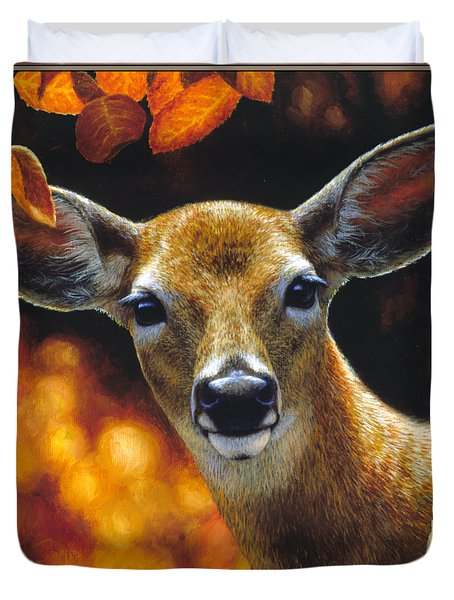 Whitetail Deer - Surprise Duvet Cover