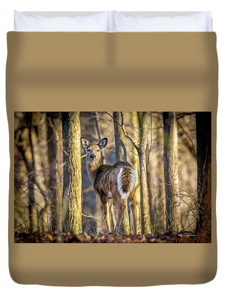 Whitetail Winter Morning Duvet Cover