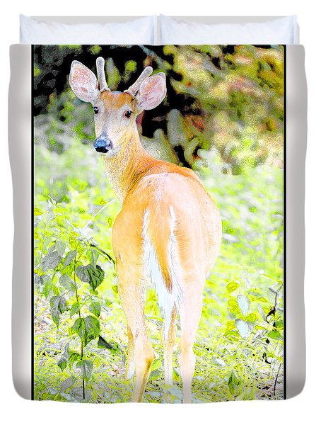 Duvet Cover featuring the digital art Whitetailed Deer Young Buck by A Gurmankin