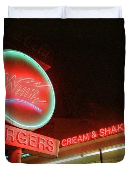 Whiz Burgers Neon, San Francisco Duvet Cover
