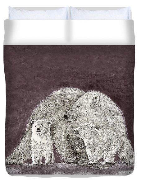 Duvet Cover featuring the painting Polar Bear Family by Jack Pumphrey
