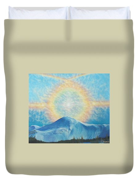 Who Makes The Clouds His Chariot Fire Rainbow Over Alberta Peak Duvet Cover