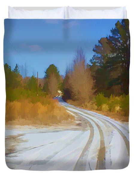Snow Covered Lane Duvet Cover