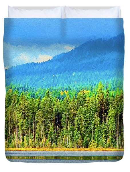 Duvet Cover featuring the photograph Whonnock Lake Mountain Photo Art by Sharon Talson