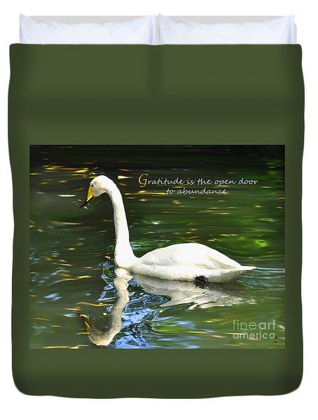 Whooper Swan Gratitude Duvet Cover by Diane E Berry