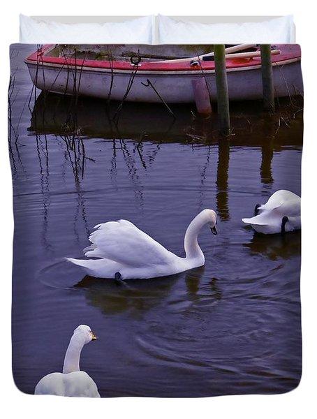 Whooper Swans On River Duvet Cover