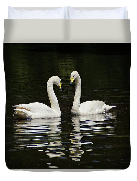 Duvet Cover featuring the photograph Whooper Swans by Sandy Keeton