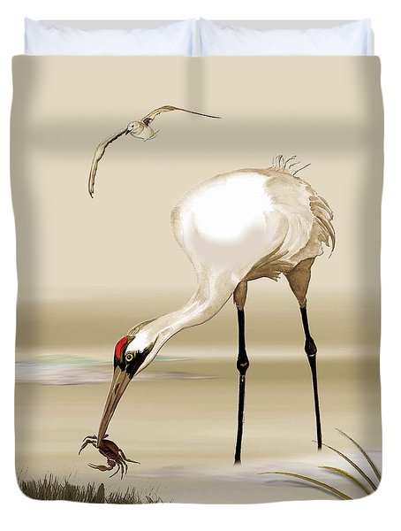 Whooping Crane Duvet Cover by Anne Beverley-Stamps